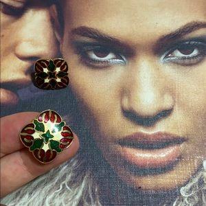 1994 Vtg Hawaiian quilt design earrings